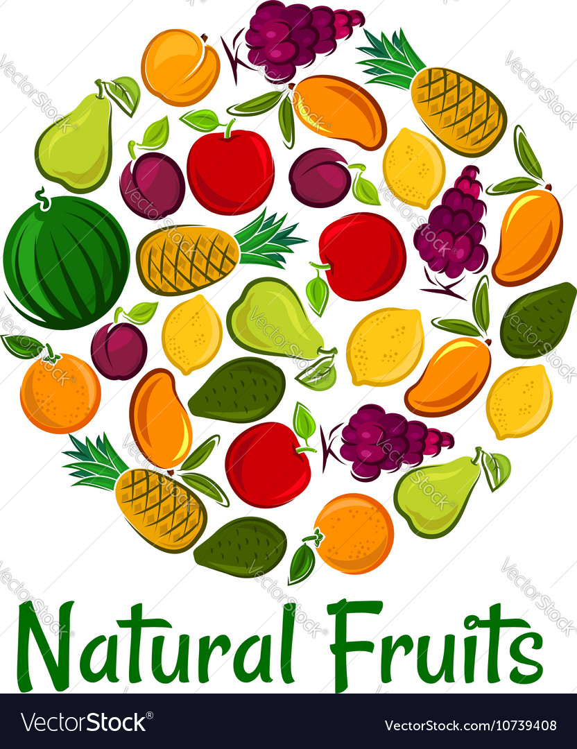 Natural fruits placard background
