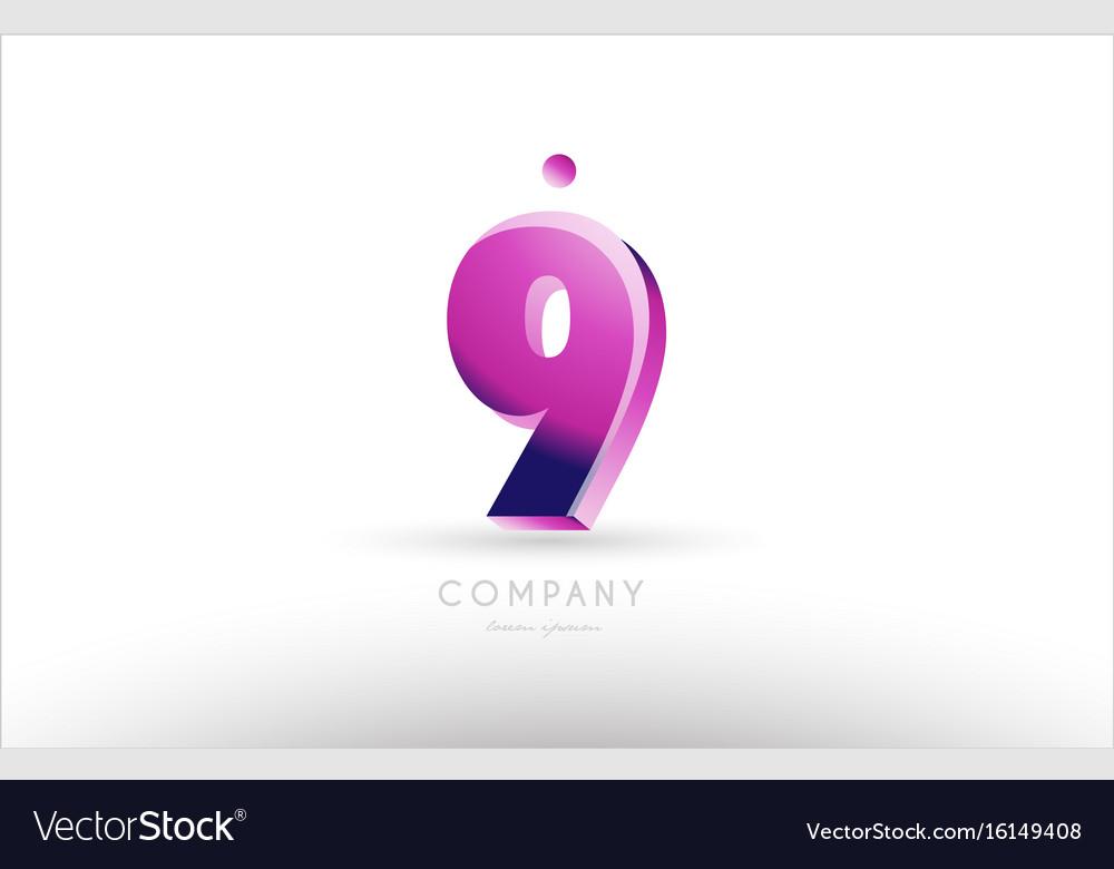 Number 9 nine black white pink logo icon design vector image