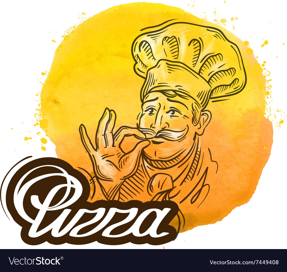 Pizza logo design template cook chef or