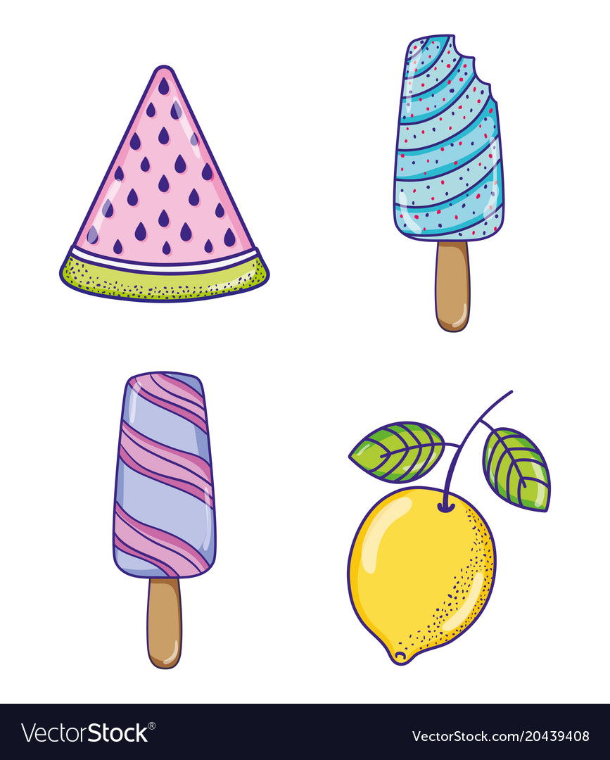 Popsicles and fruits