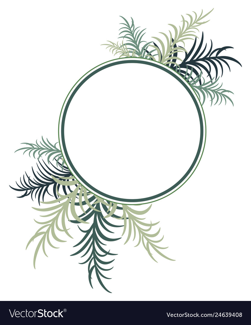 Round frame decorated with palm leaves image