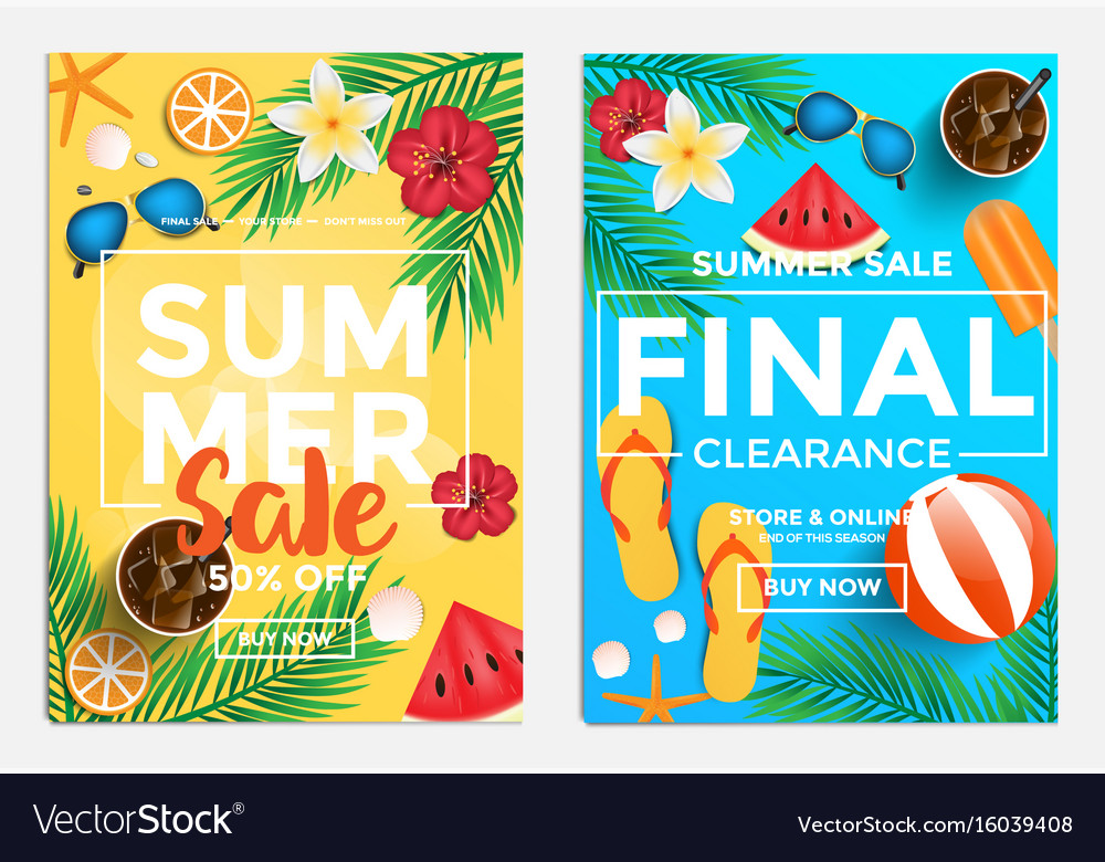 sale and discount flyers summer sale royalty free vector