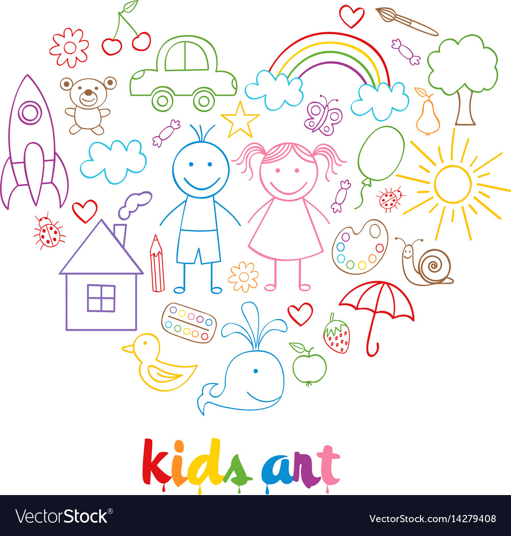 Set of isolated child drawings vector image