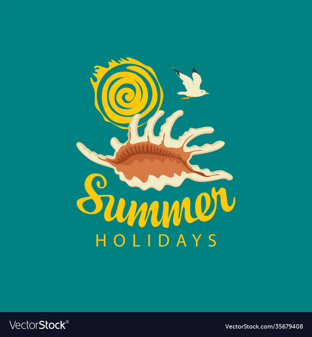 Travel summer banner with seashell sun and gull