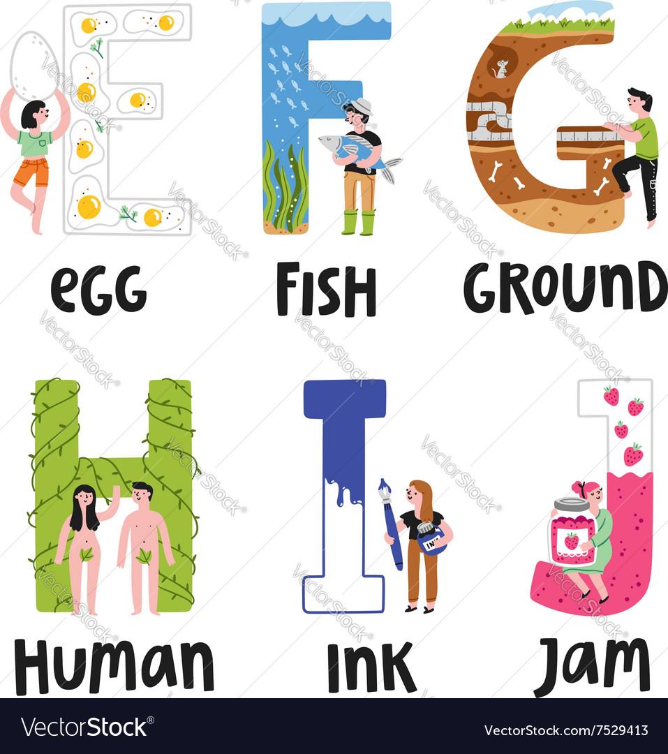 Alphabet letters e to j