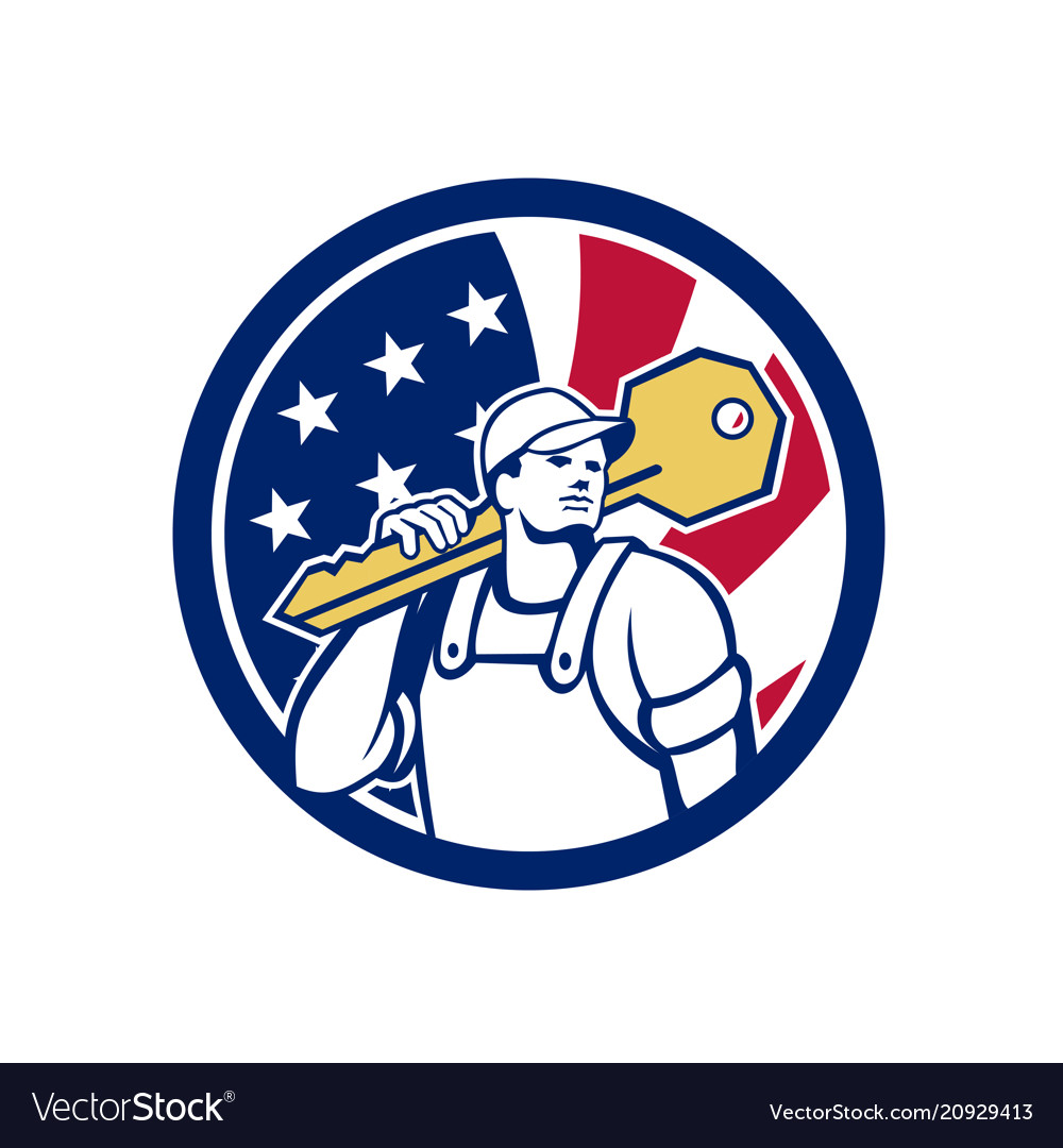 American locksmith usa flag icon
