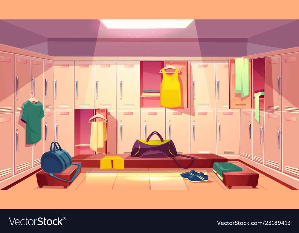 Changing room with lockers for sports royalty free vector
