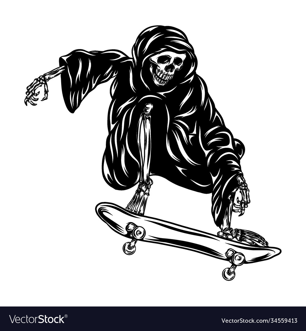 Grim using hood and playing skateboard