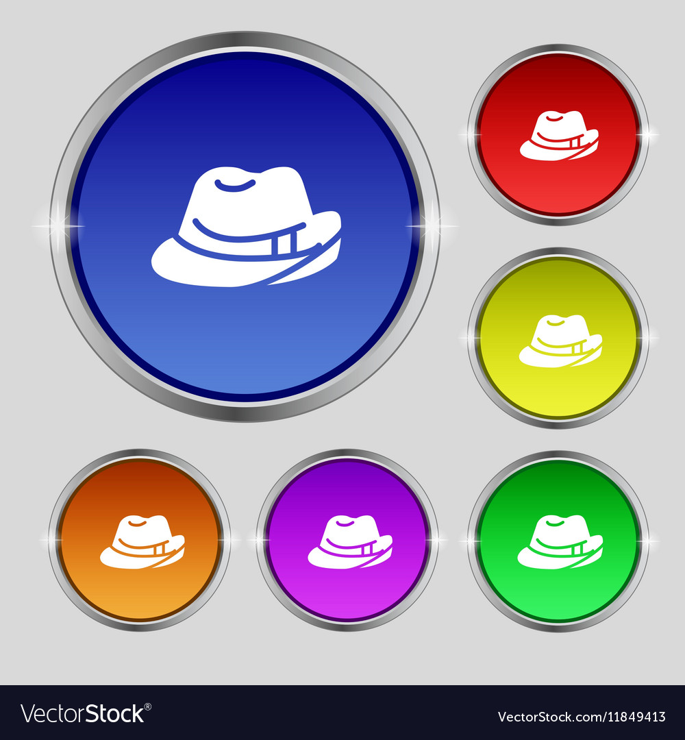 Hat icon sign Round symbol on bright colourful