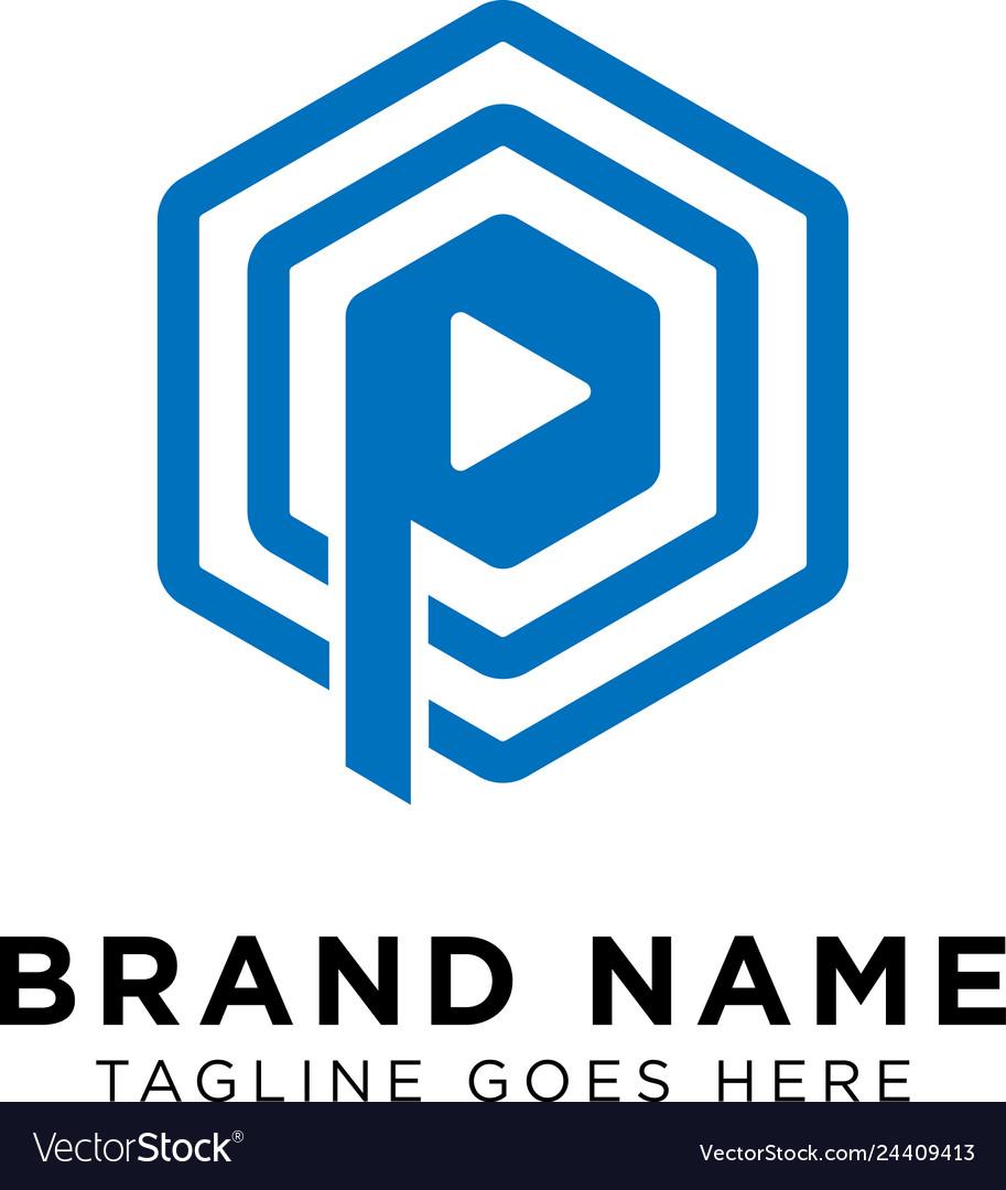 Initial p play logo design inspiration