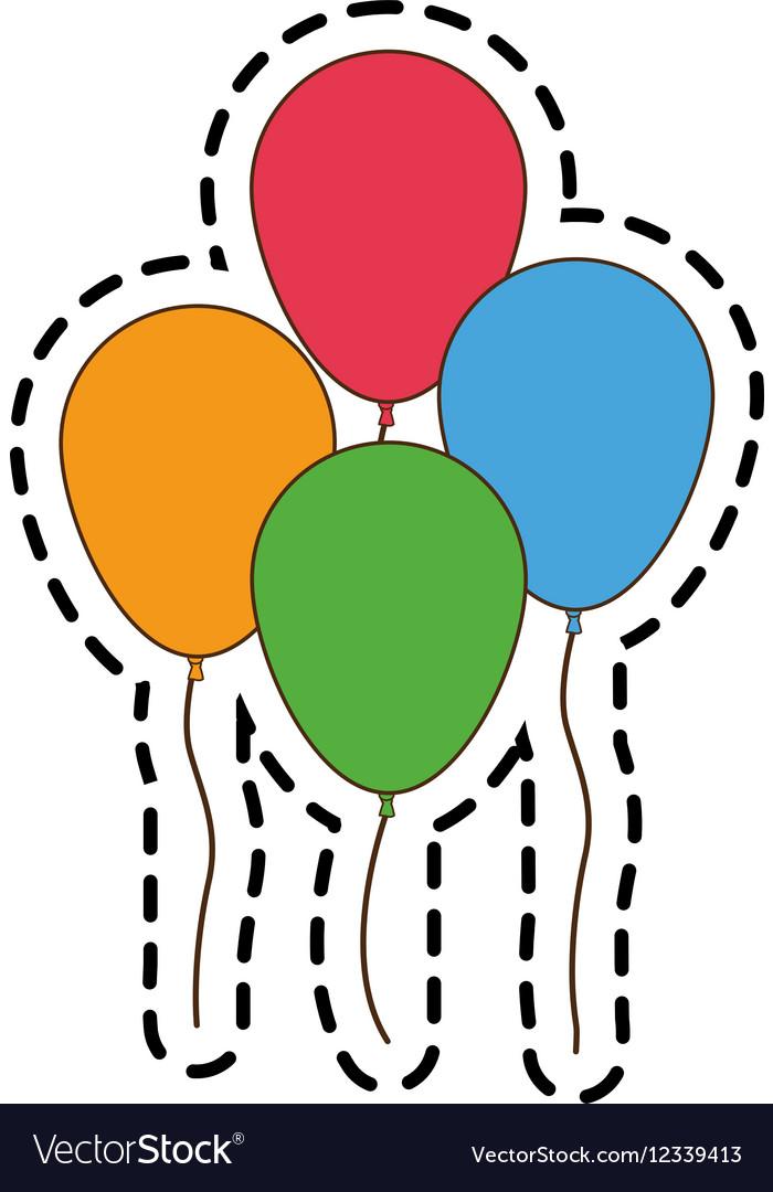 Isolated balloons of birthday design