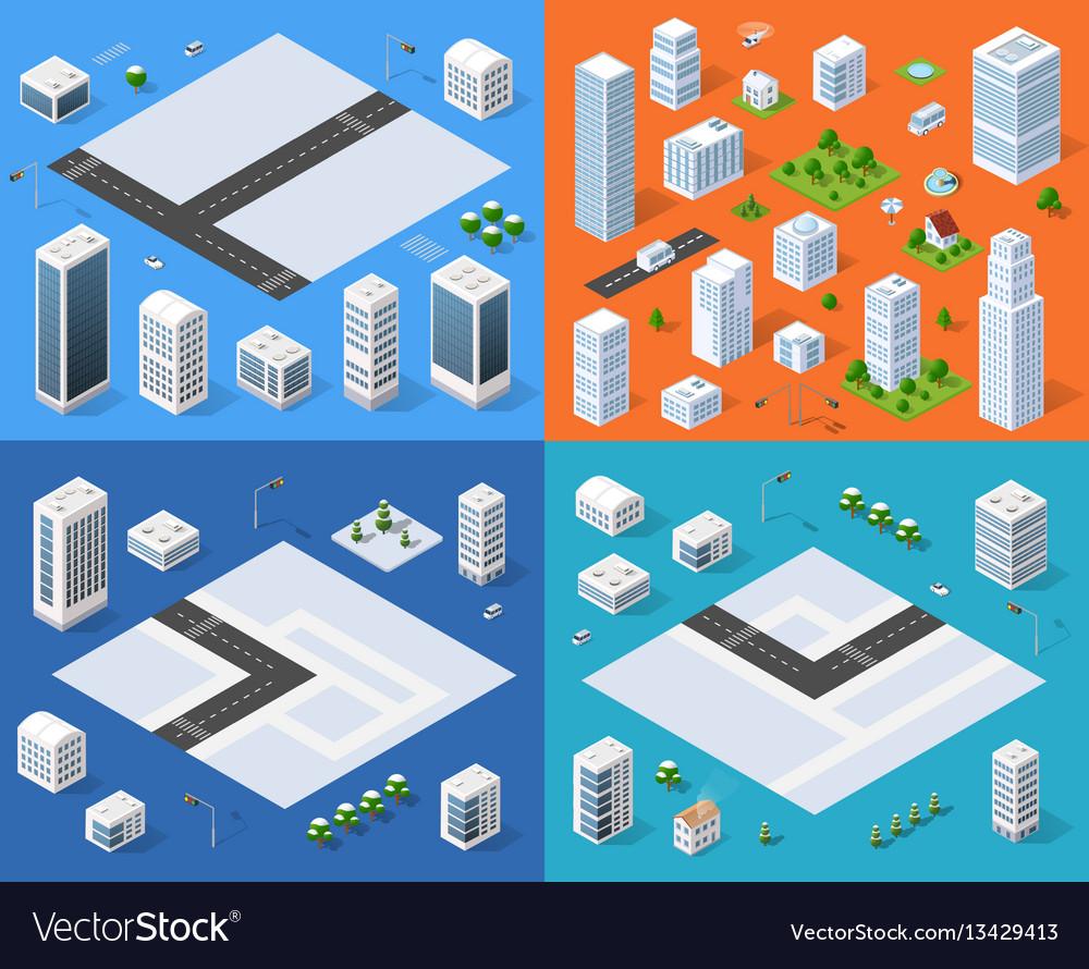 Isometric set 3d city