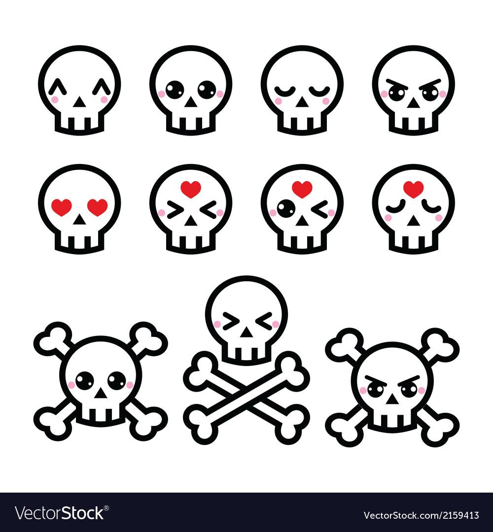 Kawaii cute Halloween skull icons set vector image