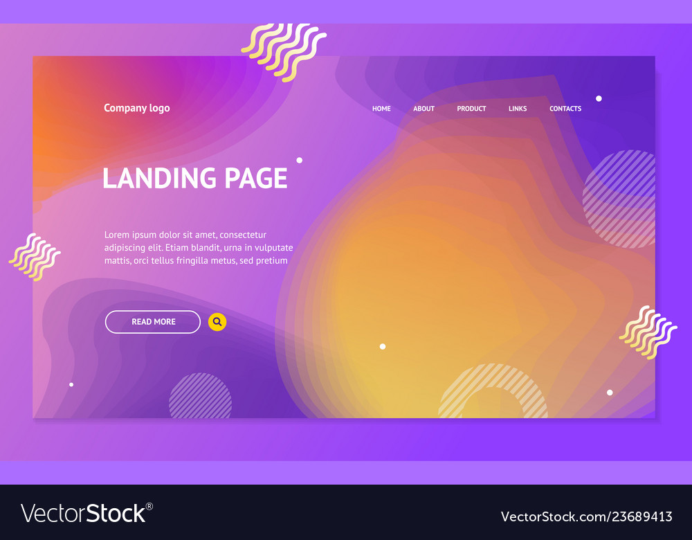 Landing page template on abstract color background