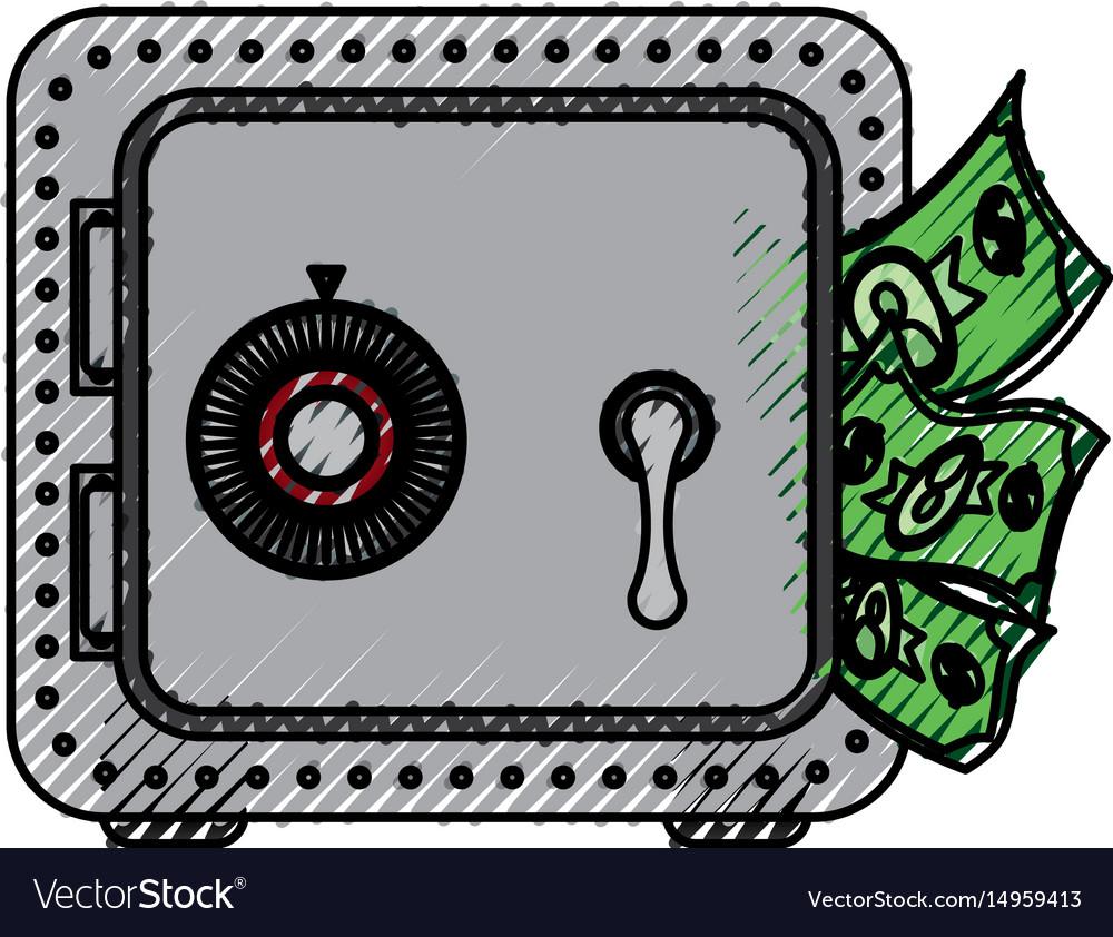 Metal strong box with bills in the door
