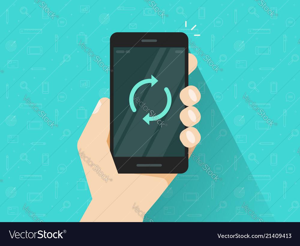 Mobile phone updating flat cartoon