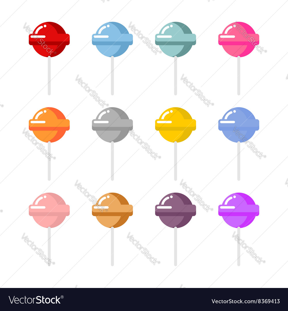 Set lollipop candies with different flavors