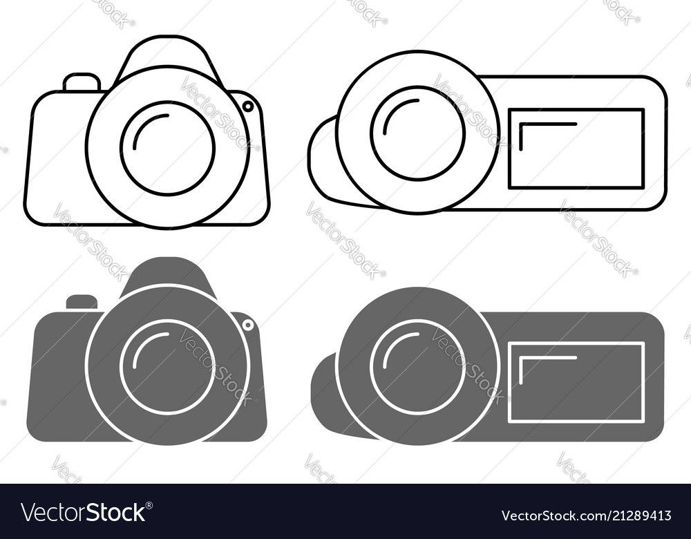 Set of icons camera sign and the camcorder symbol