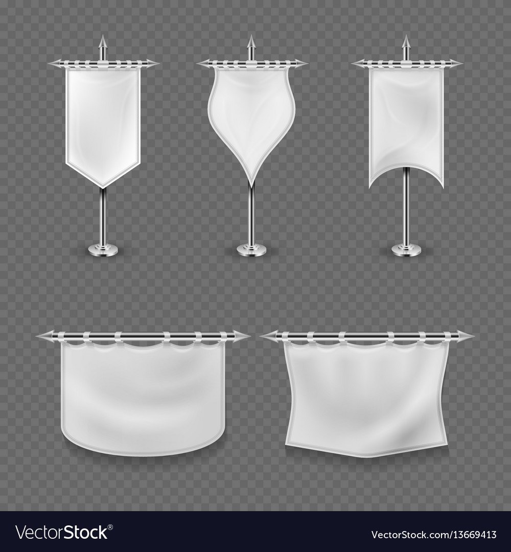 White blank medieval standard fabric flag banners vector image