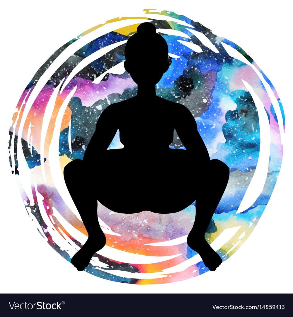 Women silhouette squat yoga pose malasana