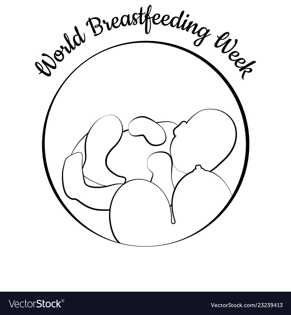 World Breastfeeding Week Child And Woman S Breast Vector Image
