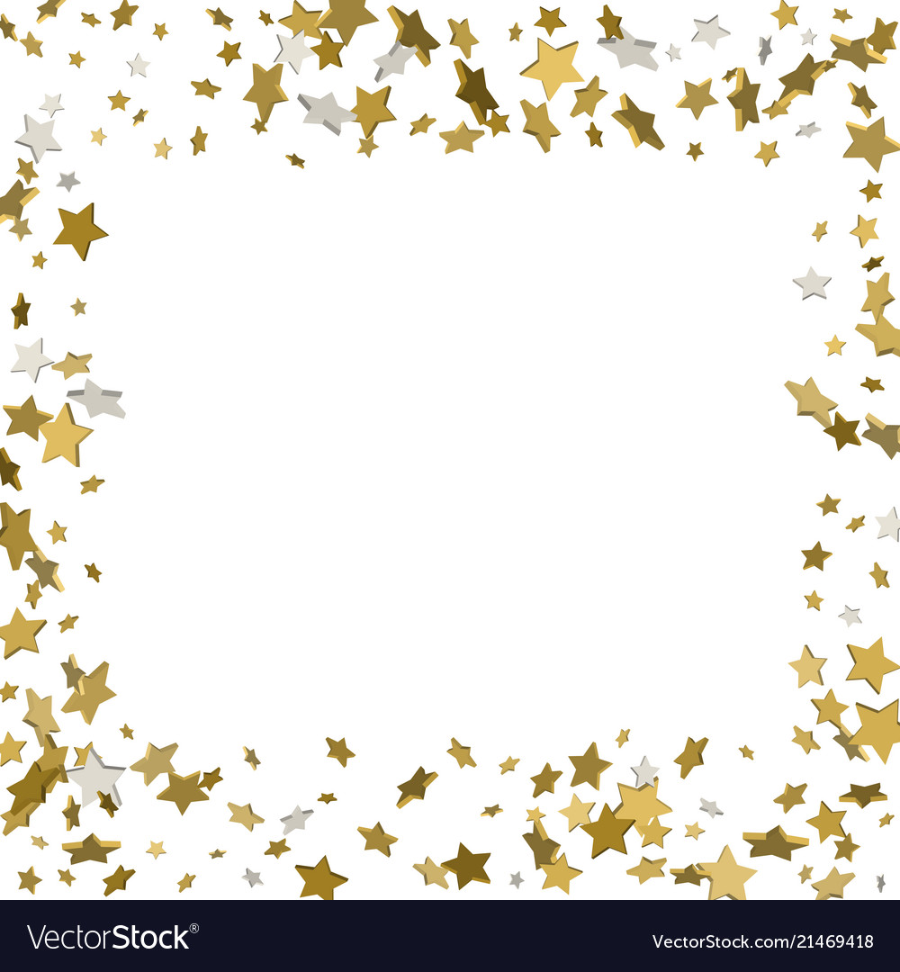 3d gold frame or border of random scatter golden