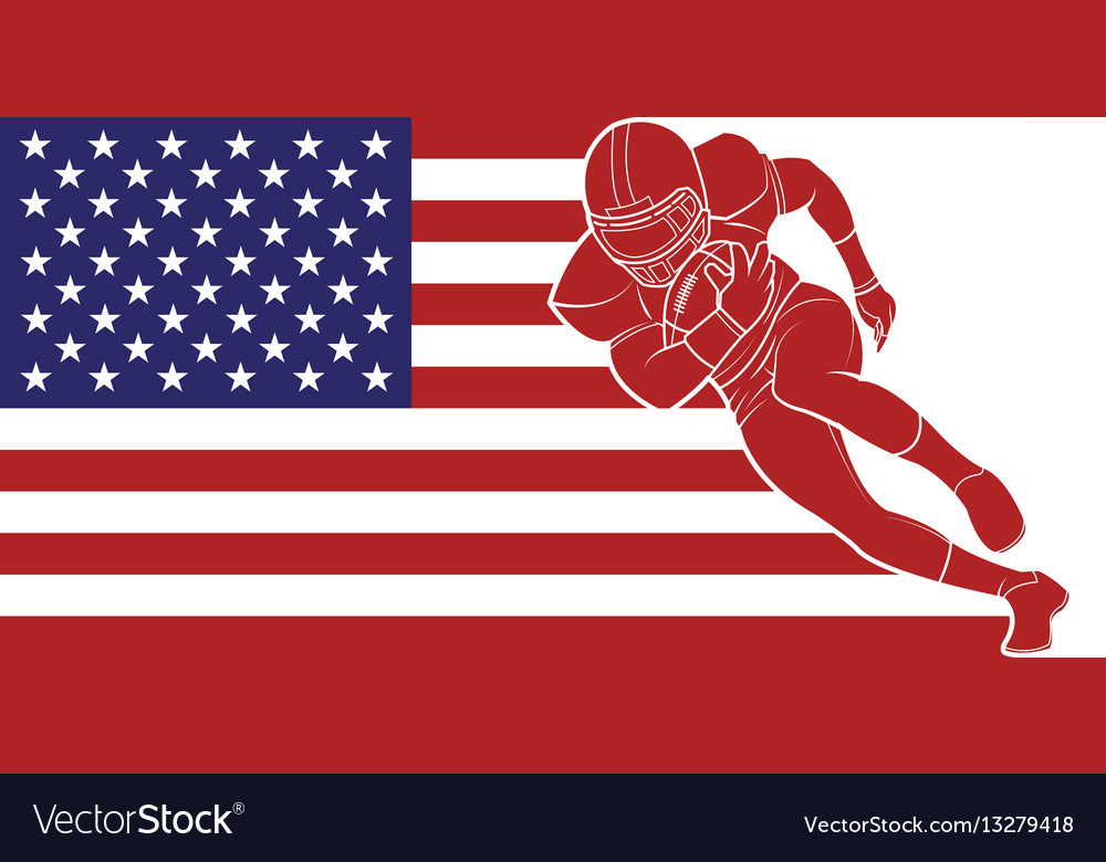 American football running with the ball on flag