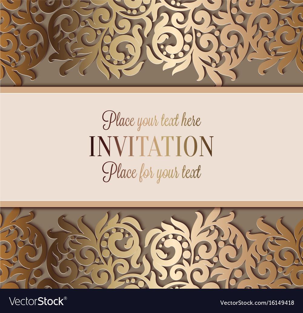 Luxury Wedding Invitations | Antique Luxury Wedding Invitation Gold On Beige Vector Image