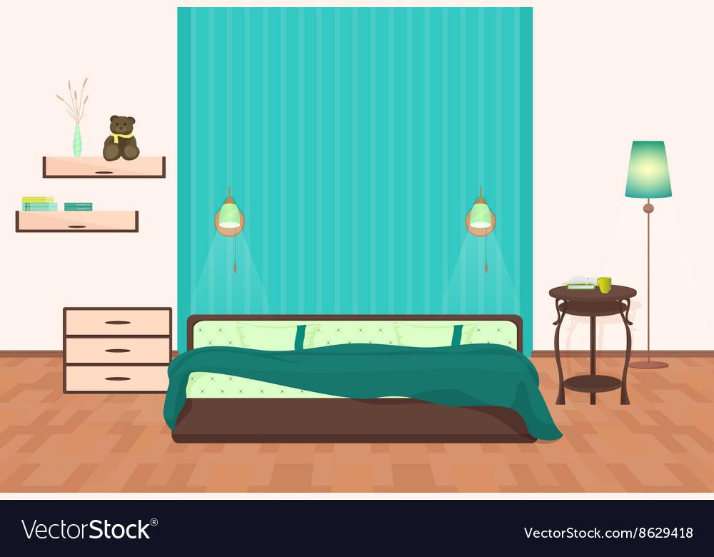 Beautiful Modern Bedroom Interior Cartoon