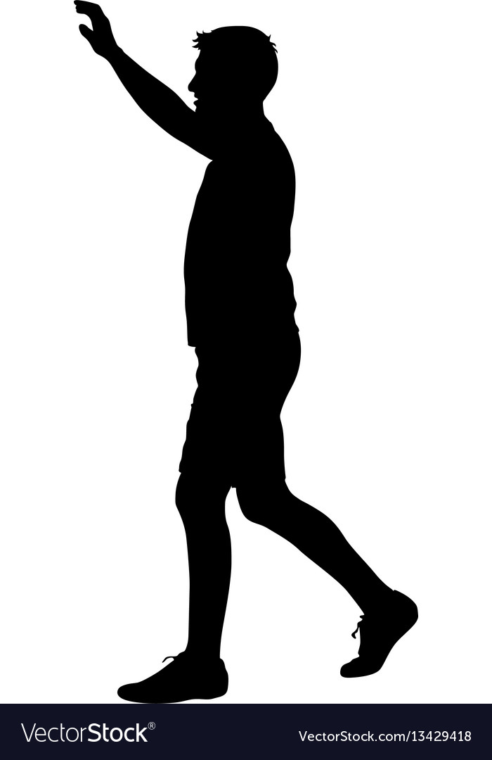 Black silhouettes man with arm raised