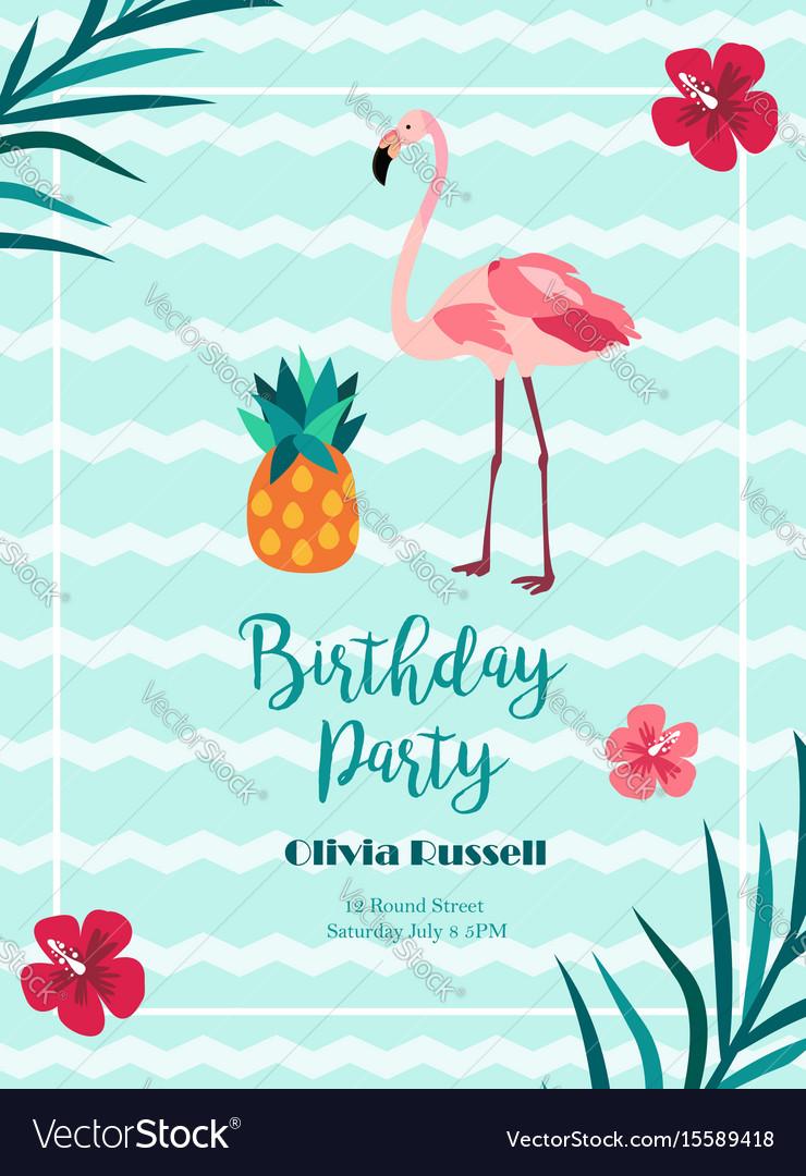 Bright birthday invitation in hawaiian style with