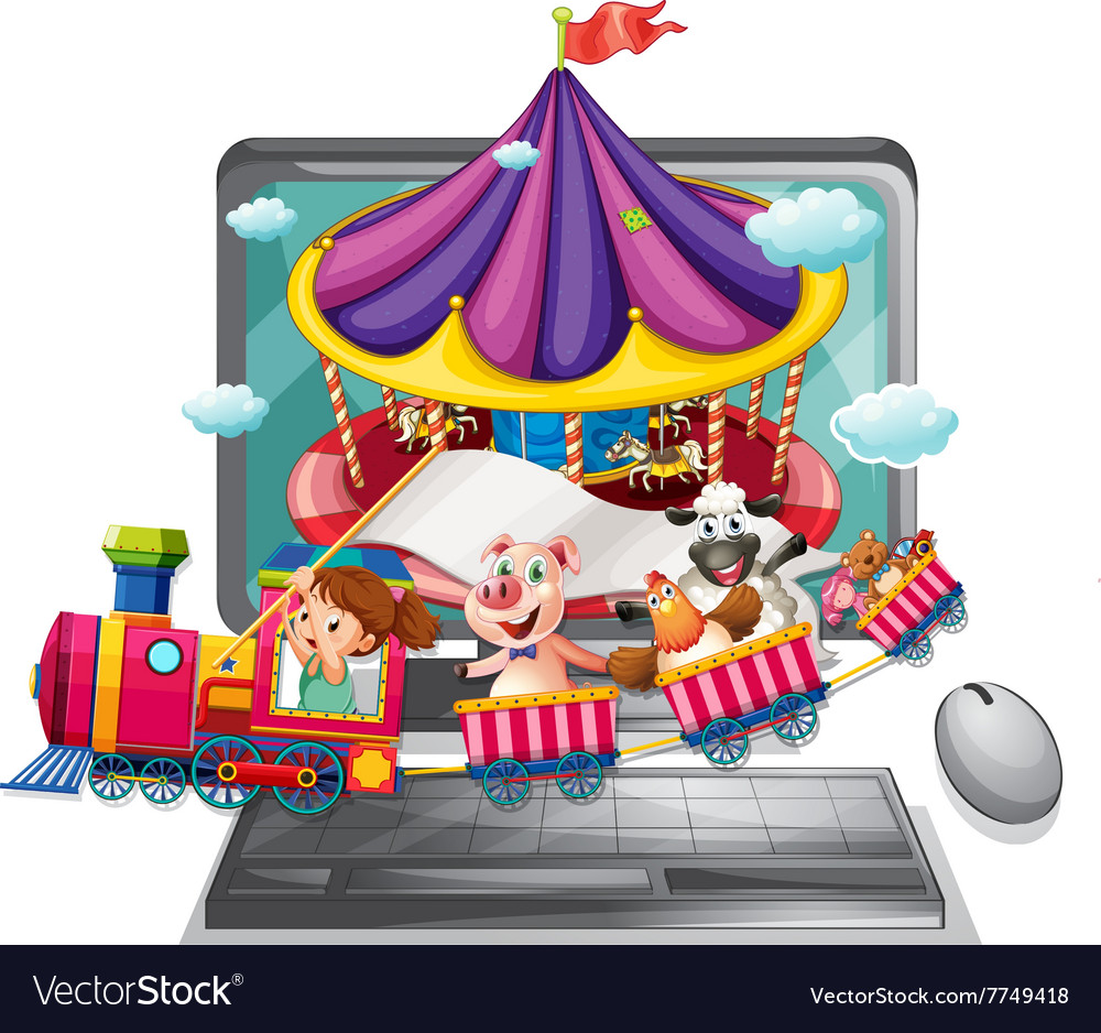 Computer screen with children and animals on train vector image