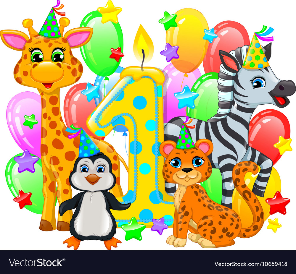 First birthday composition cute animals vector image