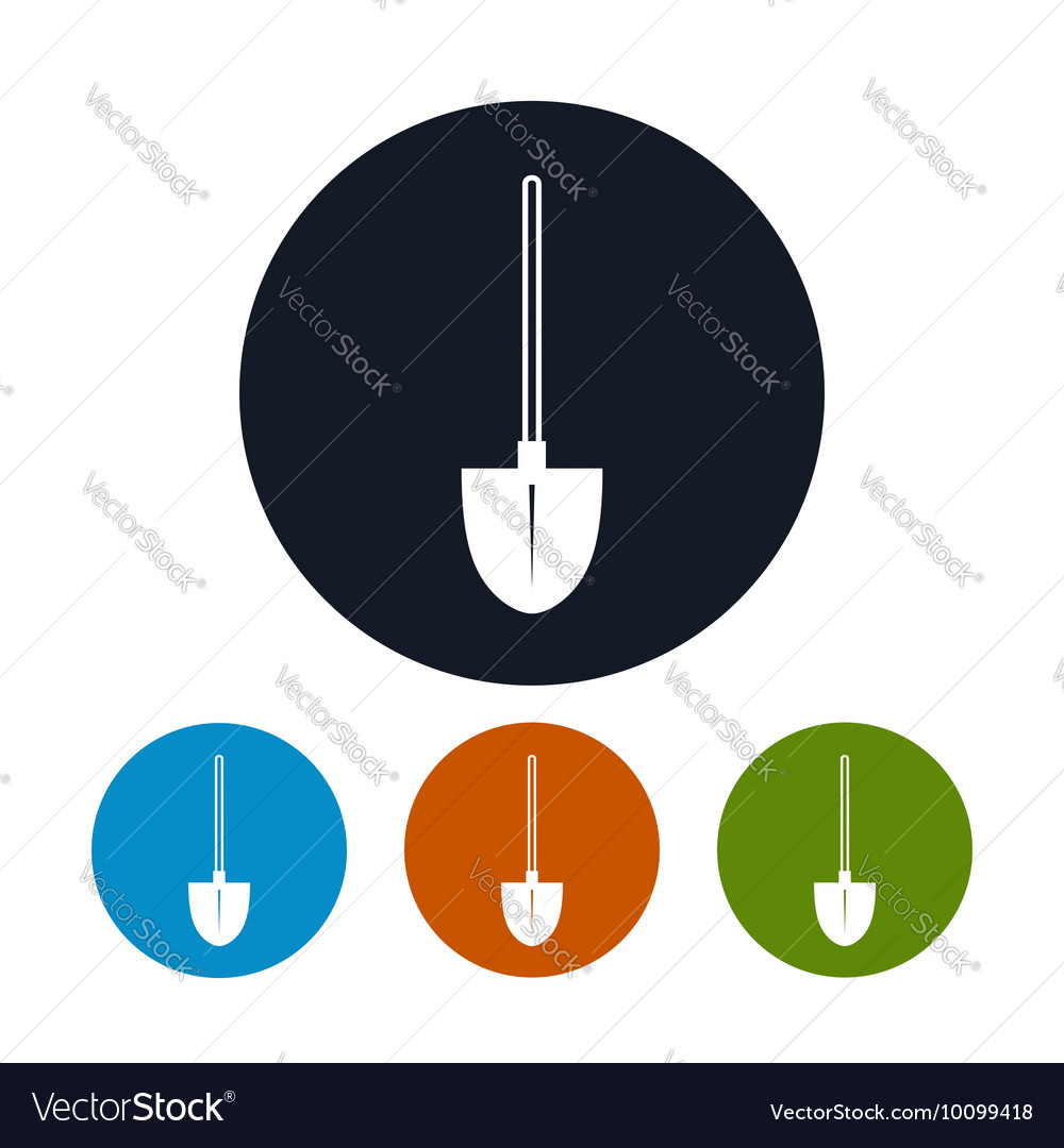 Four Types of Round Icons Shovel