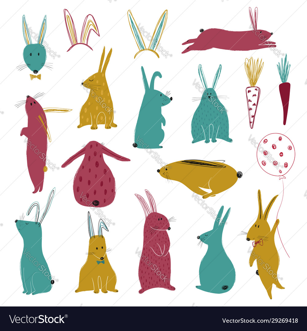Funny collection with colorful rabbits