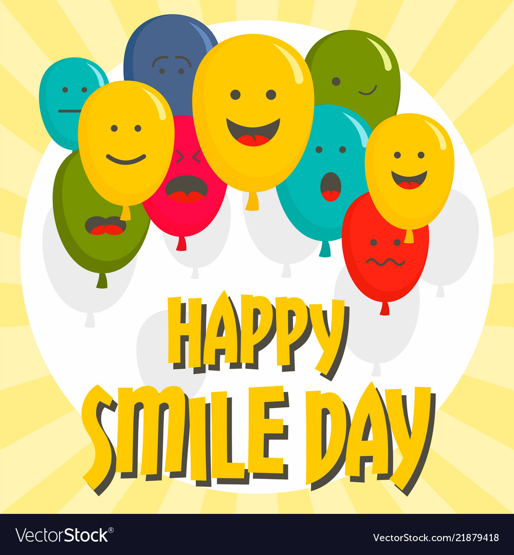 Happy smile day concept background flat style
