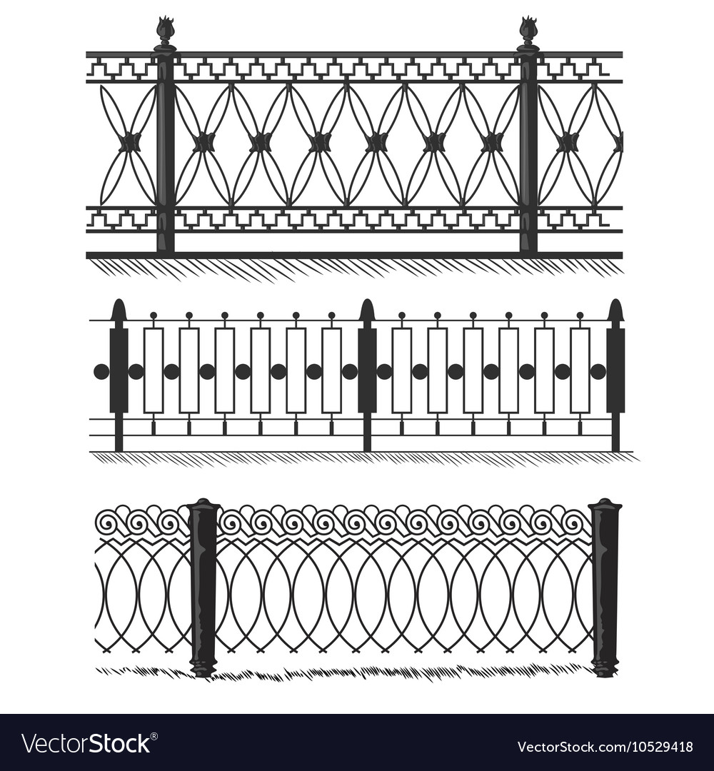 Metal Wrought Iron Gates Grilles Fences Royalty Free Vector