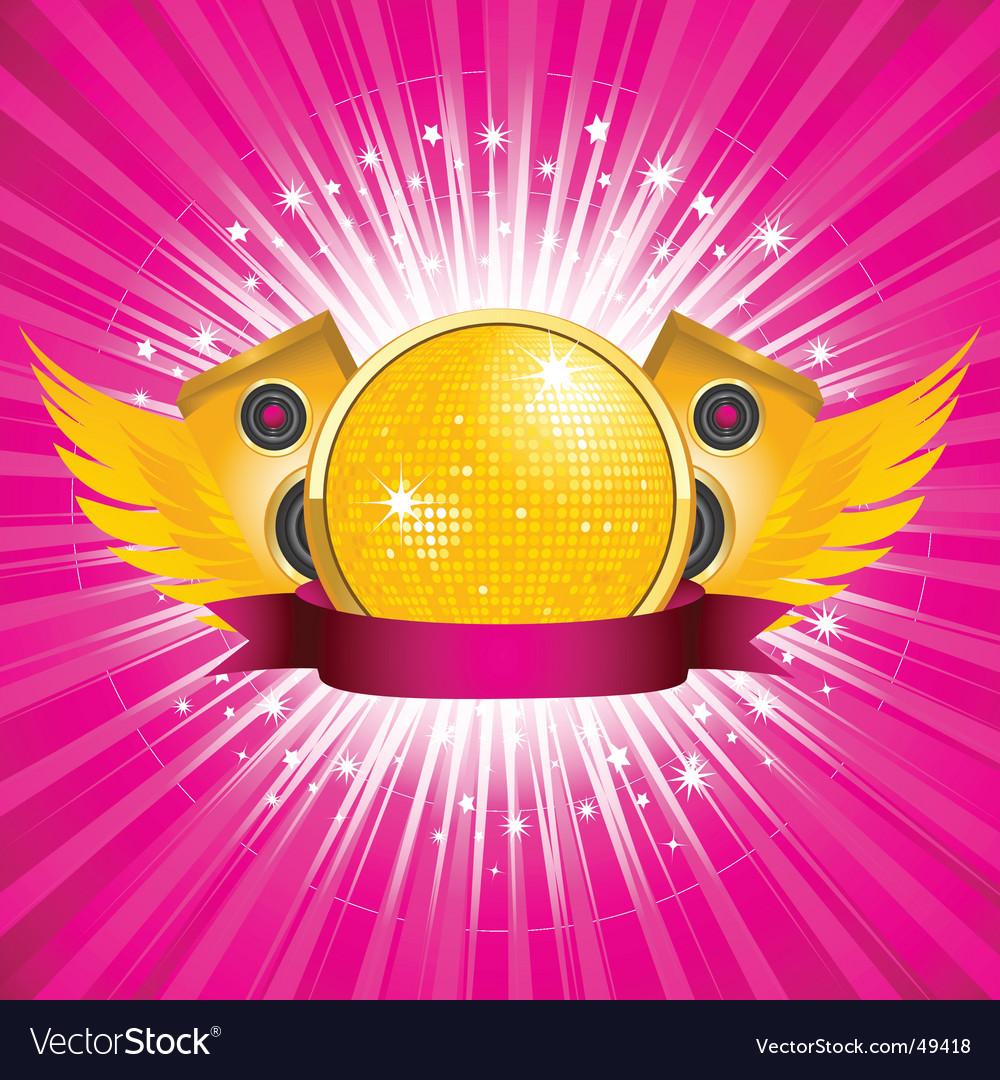 Orange disco ball and speakers vector image