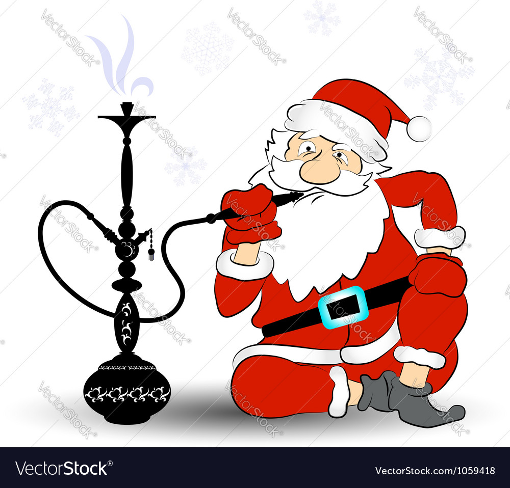 Santa smokes a hookah