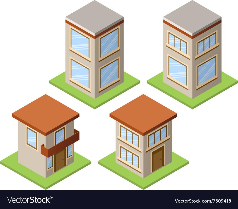Set of isometric buildings - 01
