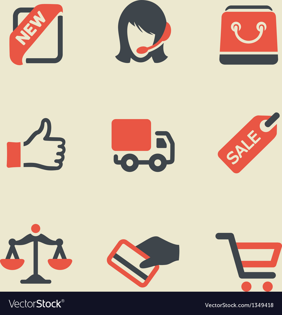 Shopping black and red icon set