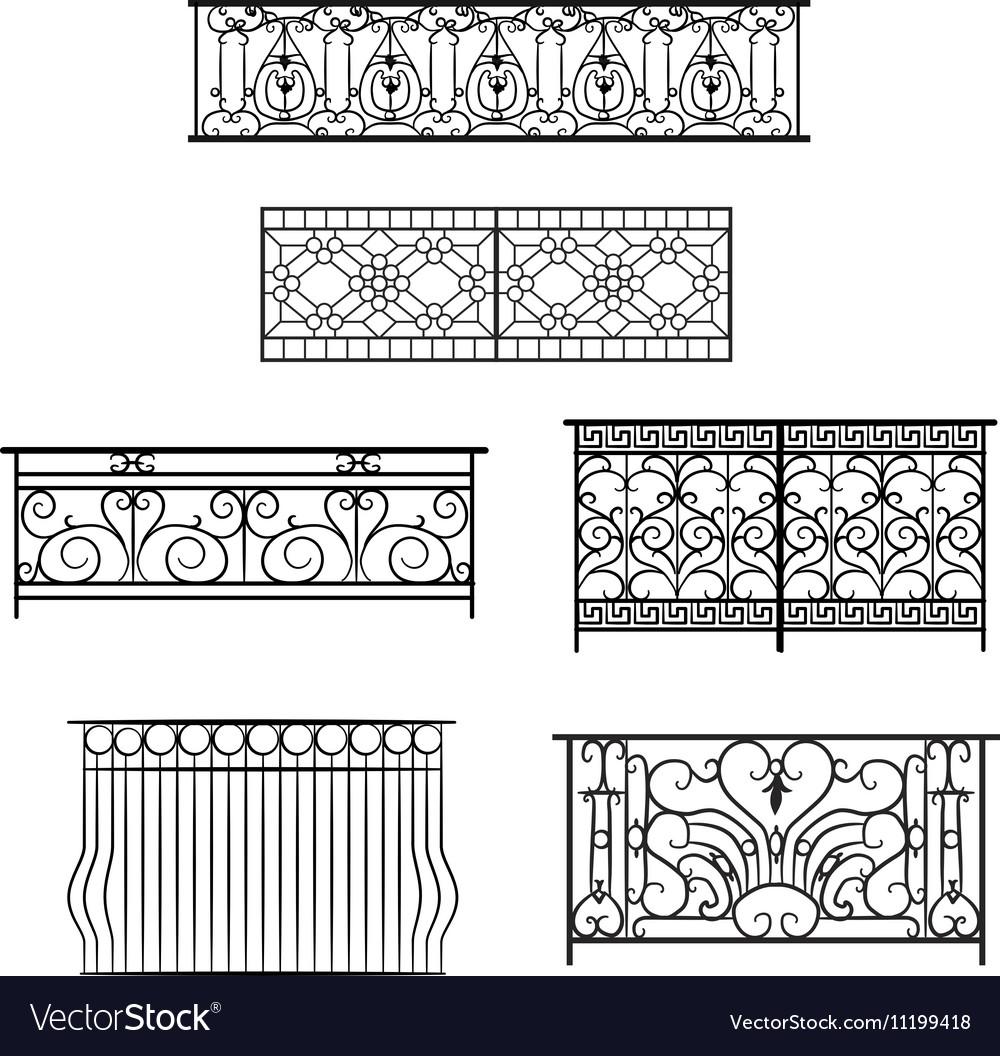 Types of balcony railing vector image