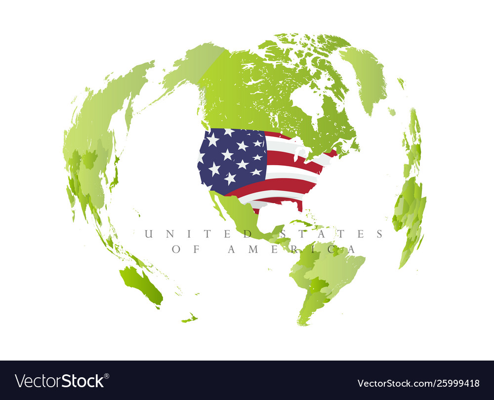 United satates america on green map state in