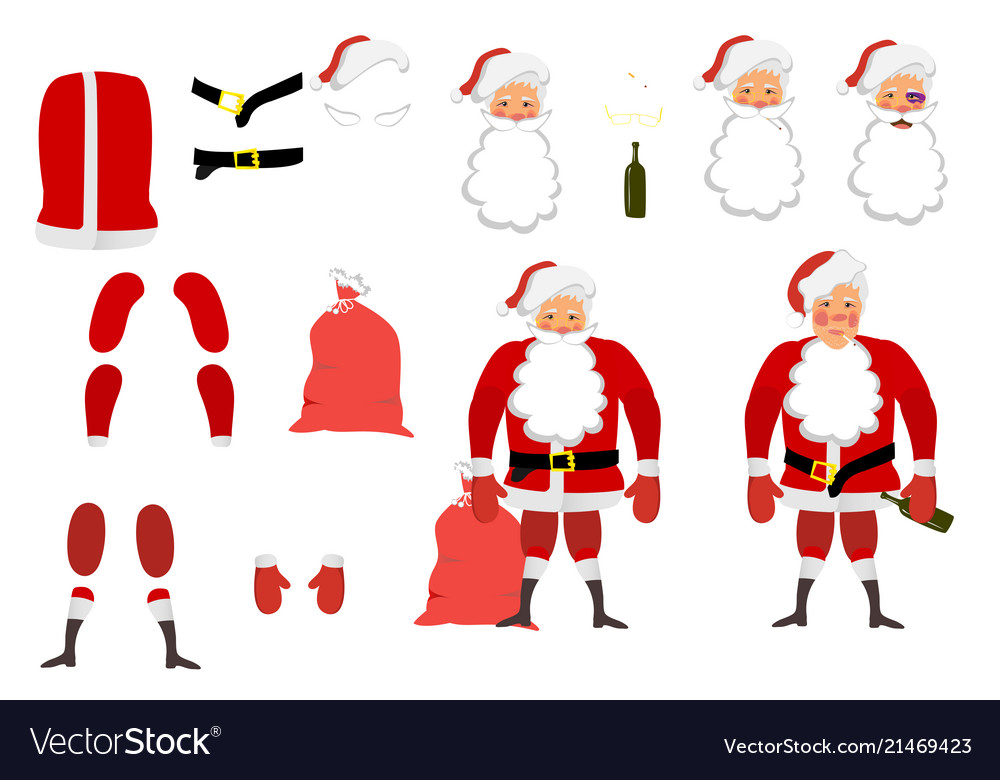 A tired santa claus set for animation hands legs