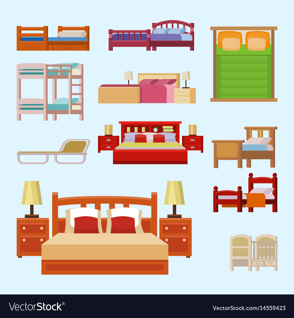 Bed icon set interior home rest collection