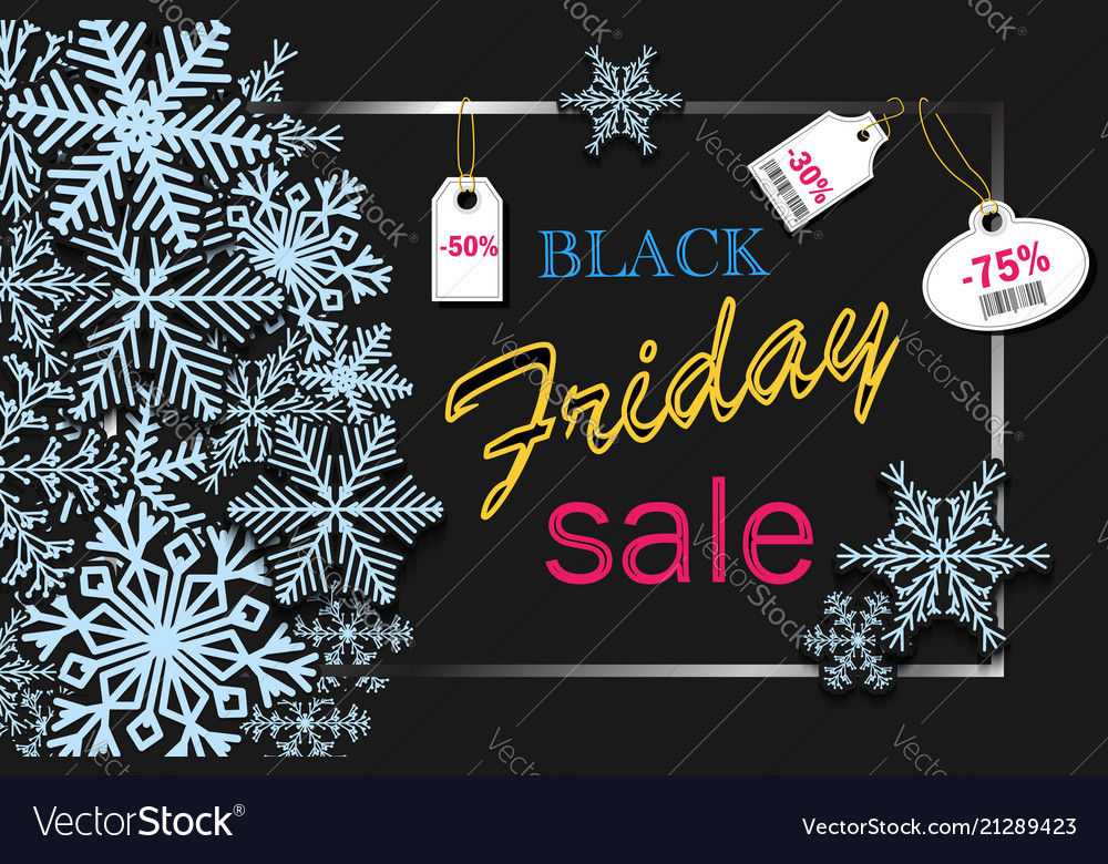 Black friday banner design with blue snowflakes