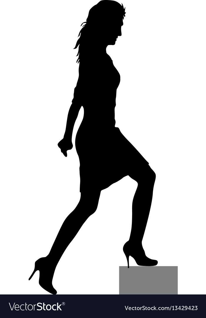 Black silhouettes of beautiful woman on white