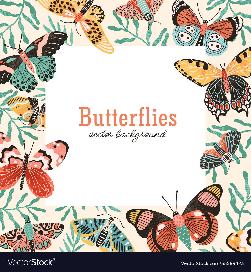 Butterflies square background flat