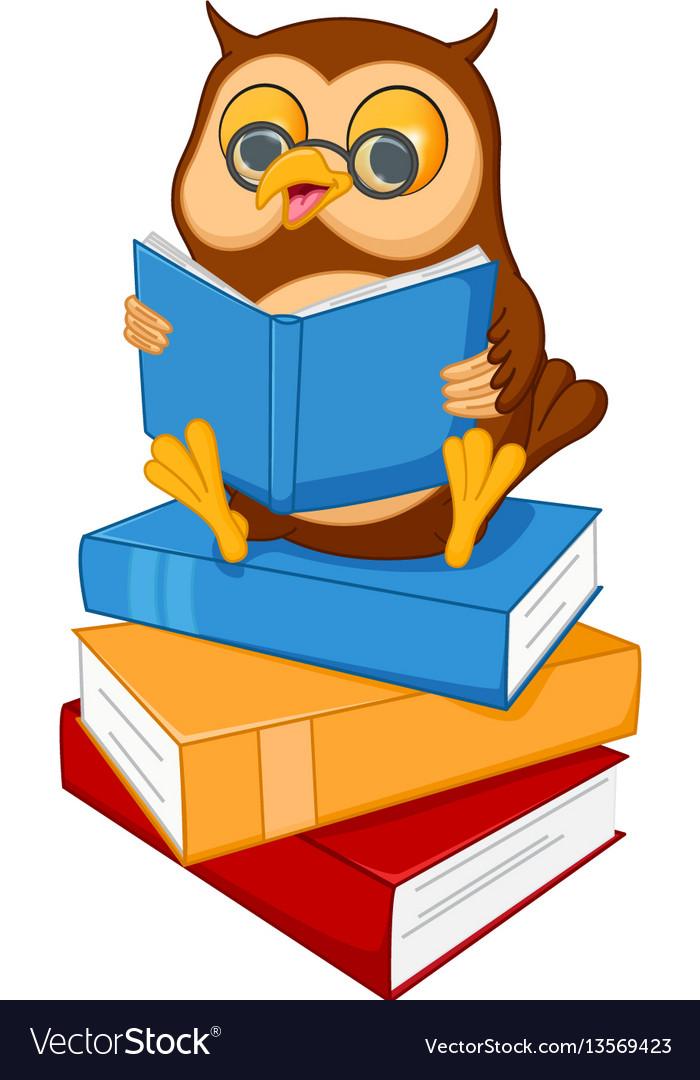 Cute cartoon wise owl read a book vector image