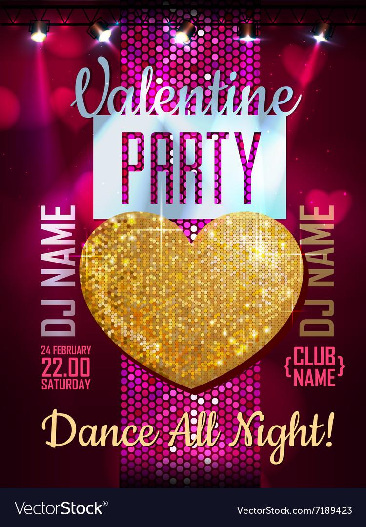 Love heart background Valentine Disco poster vector image